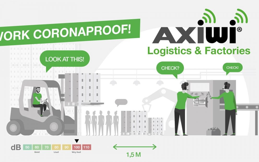 Animation: Wireless factory tour headsets for Coronaproof communication in noisy logistics and production environments